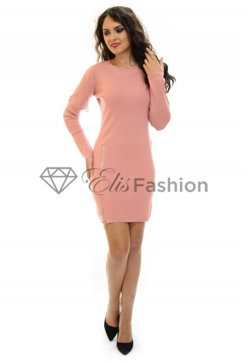 Rochie Tricotata Zipper Pink