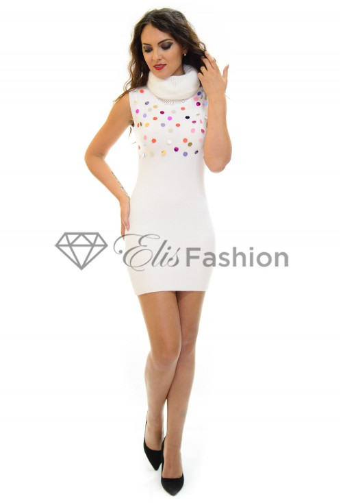 Rochie Tricotata Sequins White