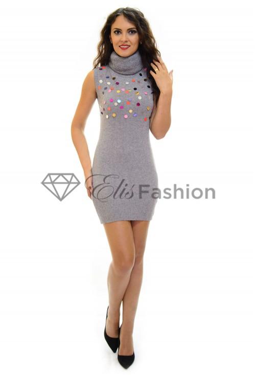 Rochie Tricotata Sequins Grey