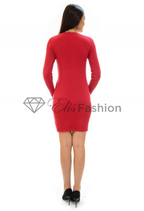 Rochie Tricotata Golden Lit Red
