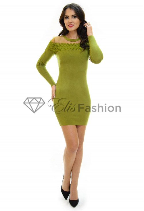 Rochie Tricotata Lace Brodery Green