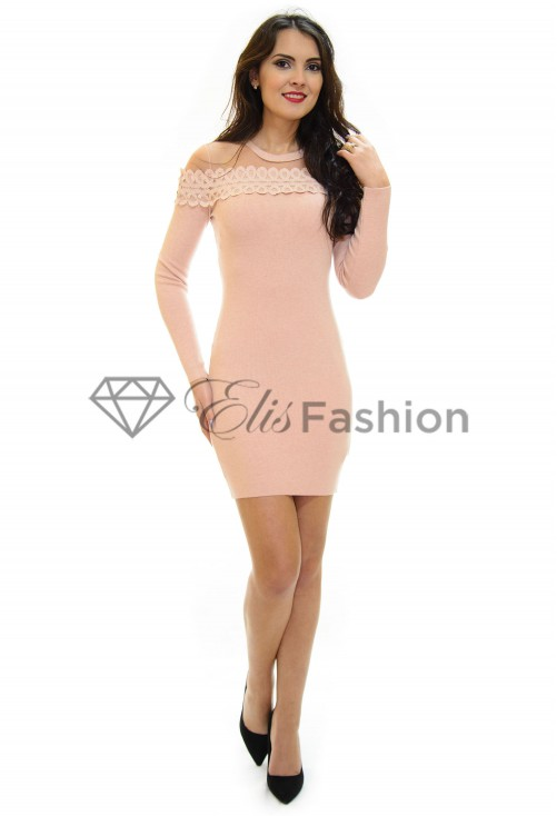 Rochie Tricotata Lace Brodery Rose