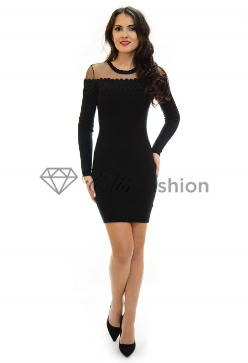 Rochie Tricotata Lace Brodery Black
