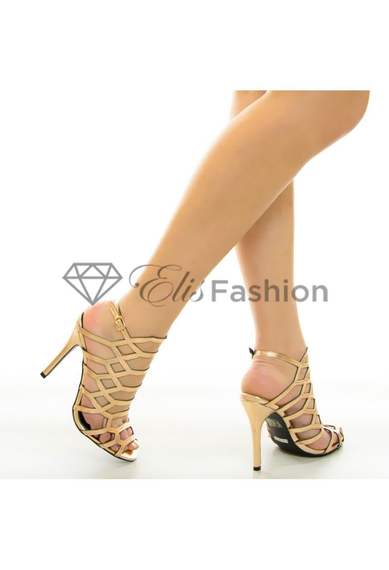 sandale prom night rose gold 7108. Black Bedroom Furniture Sets. Home Design Ideas