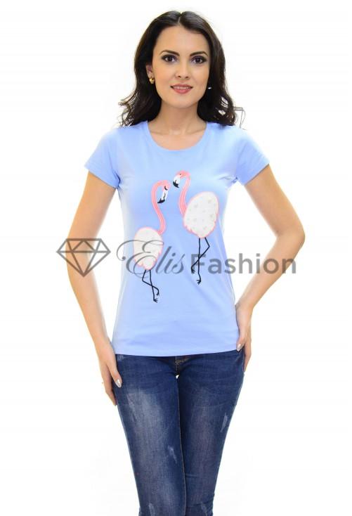 Tricou Flamingo Love Blue