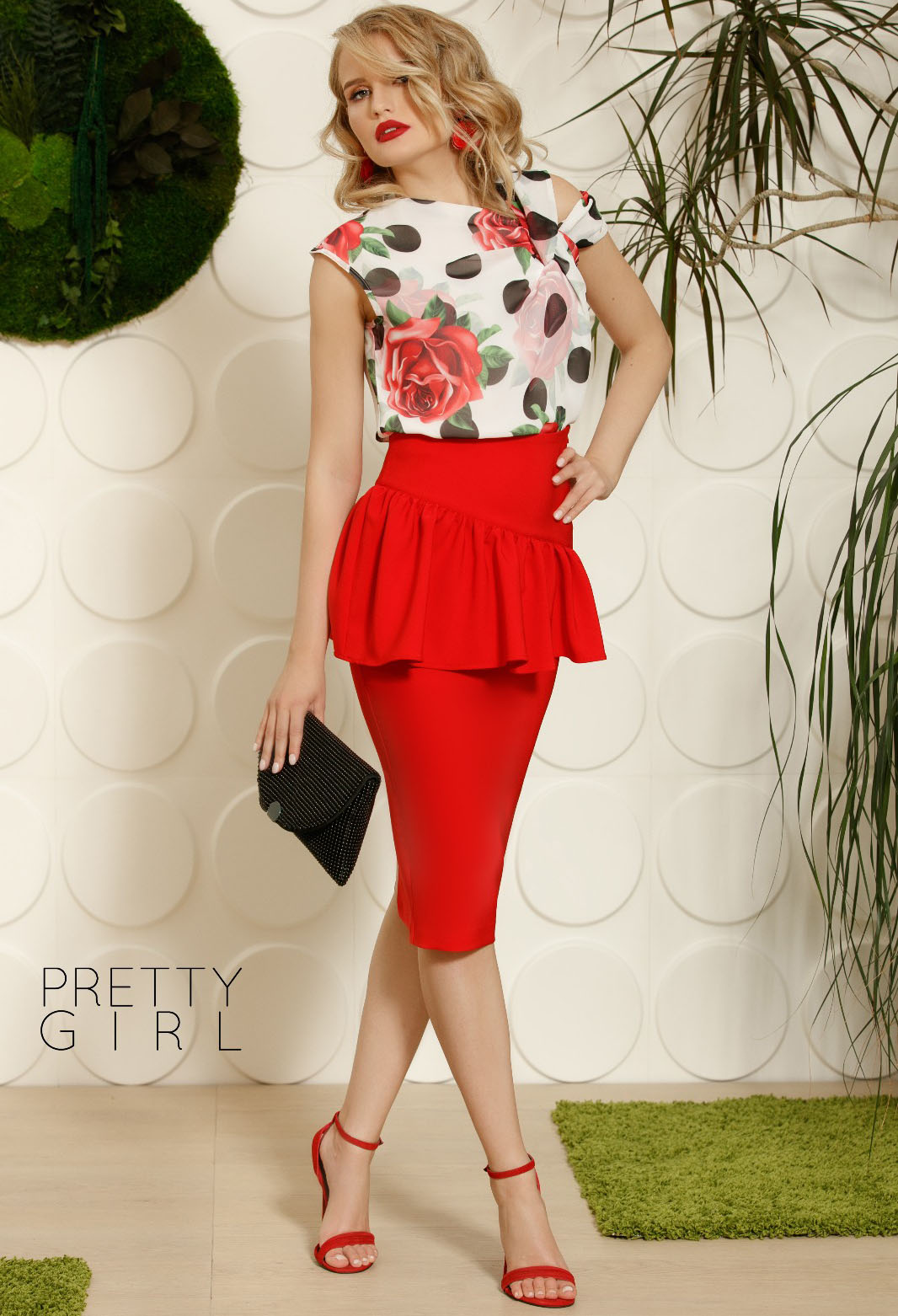 Fusta Pretty Girl Peplum Red