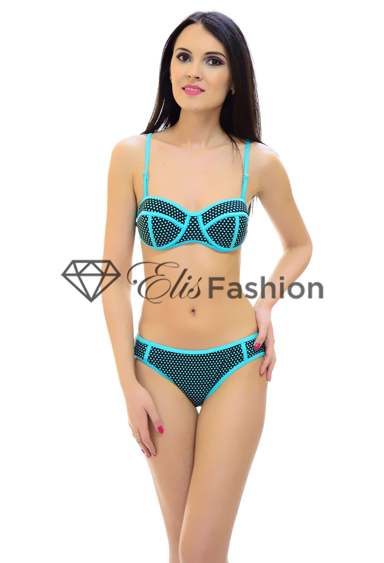 Costum de Baie Green Dots