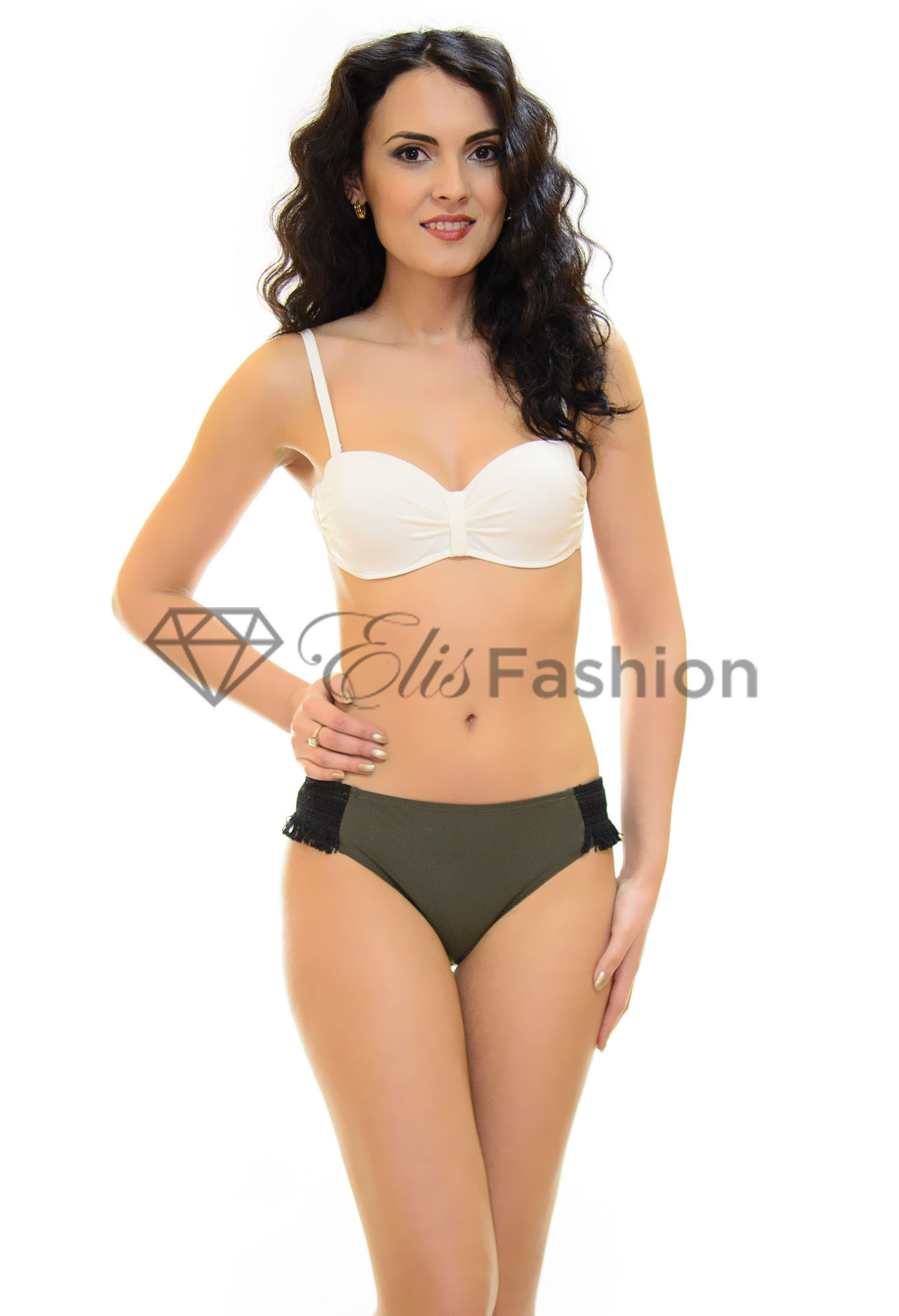 Costum de Baie Khaki and White