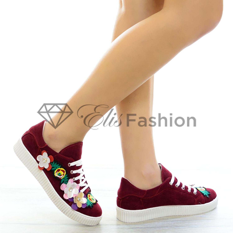 Pantofi Sport Burgundy Flowers #4271