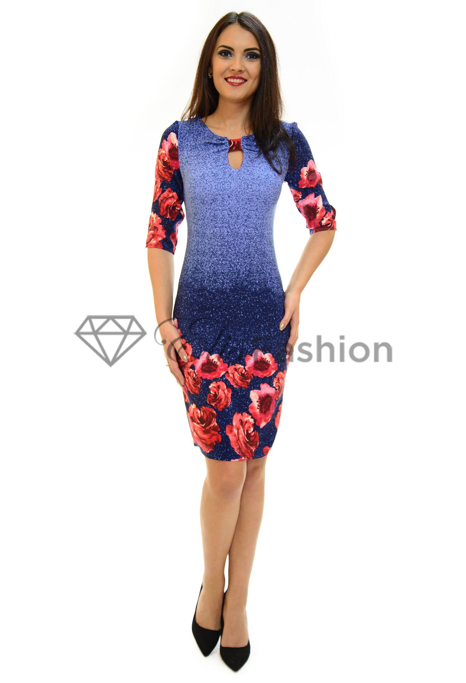Rochie Perla Donna Marvelous Flowers Blue