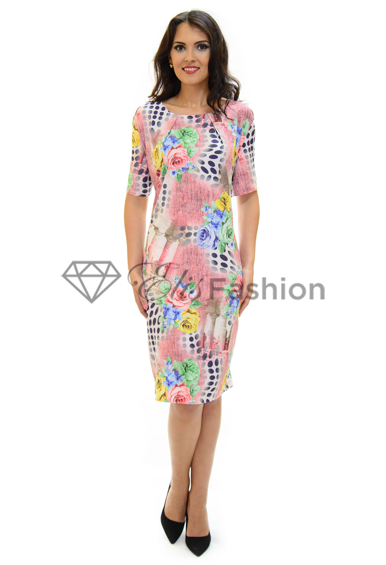 Rochie Abstract Design Pink