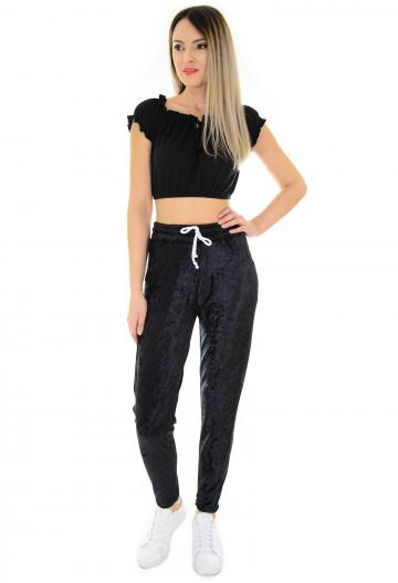Pantaloni Wave Velvet Black